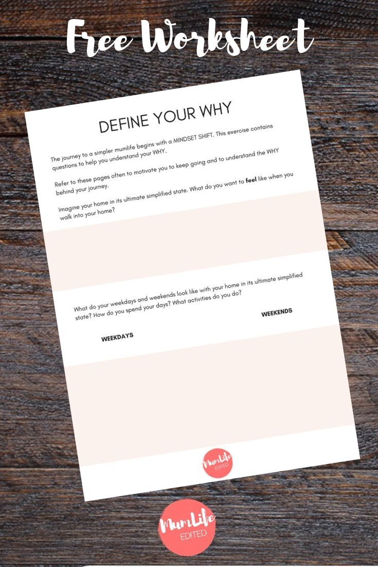 Define Your Why Worksheet Minimalism Simplify Understand Your Why Goal Pl Personal Development Worksheet Personal Mission Statement This Or That Questions