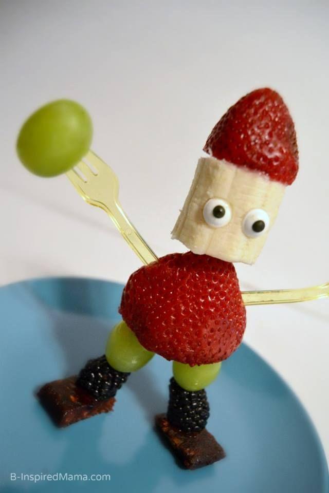 Robot de frutas para niños. Fresa, banano y uvas. #PostresFiestas