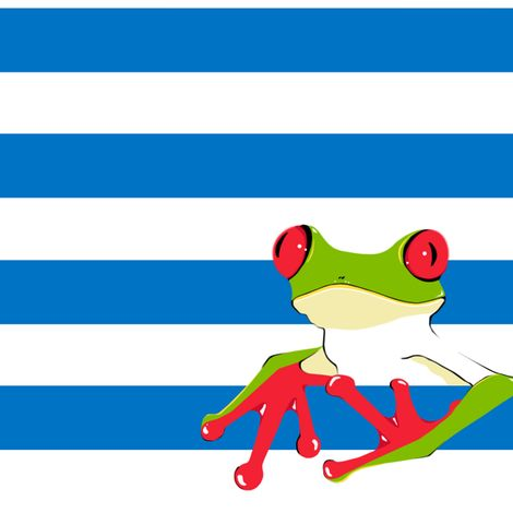Fiaba Frogs and Stripes fabric by fiaba_fabrics on Spoonflower - custom fabric