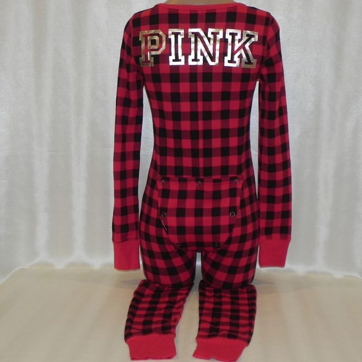 Victorias Secret Pajamas PINK One Piece Onesie s logo Red black Plaid #VictoriasSecret #PajamaSets