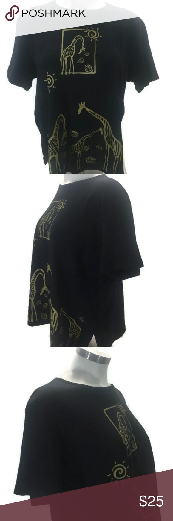 """Gold Giraffes On A Black Knit Short Sleeve Top Kim & Cami Cotton Knit Top Plus Size 3X      Black with Gold Giraffes     Short Sleeve     100% Cotton  Approximate Measurements:      Bust: 56""""     Length: 28""""  Pre-owned with no stains, tears, holes. Kim & Cami Tops Tees - Short Sleeve"""
