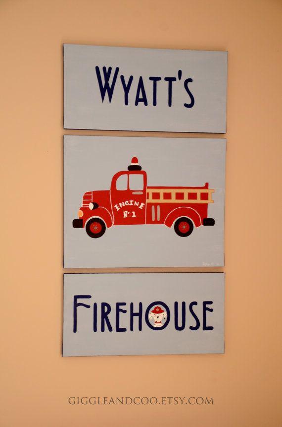 Personalized Art, Firetruck, Transportation Art, Nursery Art, Child's Bedroom Art, or Playroom Art