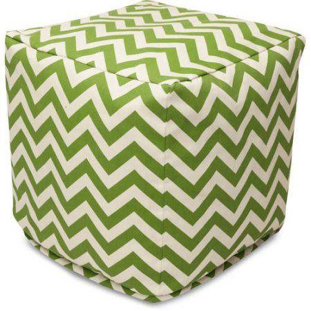 Majestic Home Goods Chevron Bean Bag Cube Indoor Outdoor Green