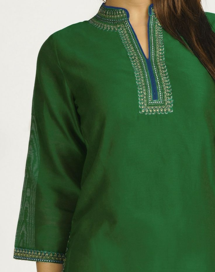 Fabindia.com | Silk Cotton Chanderi Achkan Embroidery Mini Kurta