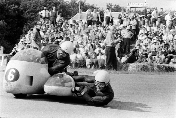 West German duo JOHANN Attenberger-Josef Schillinger winning the sidecar class of the Assen TT, 30 June 1968.      One week later, 7 July, 1968, at  Belgian GP at Spa, Attenberger lost control on the last lap at full speed down the Masta Straight, hit the corner of a house and then crashed into a pine tree. Unfortunately, Attenberger and Schillinger were killed instantly.