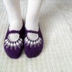 Örgü mor patik #crochet #knit #knitting #örgü #booties