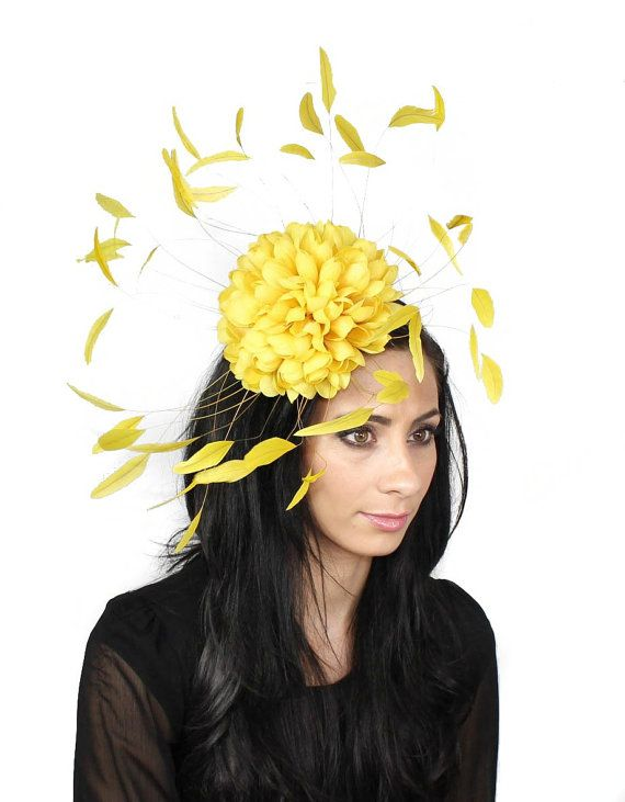 Margeaux Yellow Fascinator Hat for Weddings by Hatsbycressida, $120.00