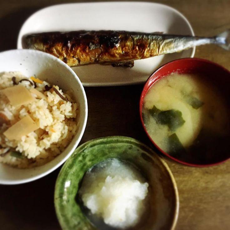 #糠漬け #さんま  #炊き込み御飯 #大根おろし  #じゃがいも の #お味噌汁  #和食 #ばんごはん  #てづくり #おうちごはん