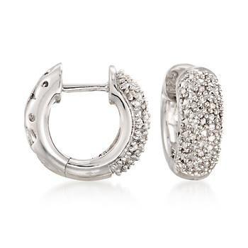 Ross-Simons - Diamond Accent Wide Hoop Earrings in Sterling Silver - #821860