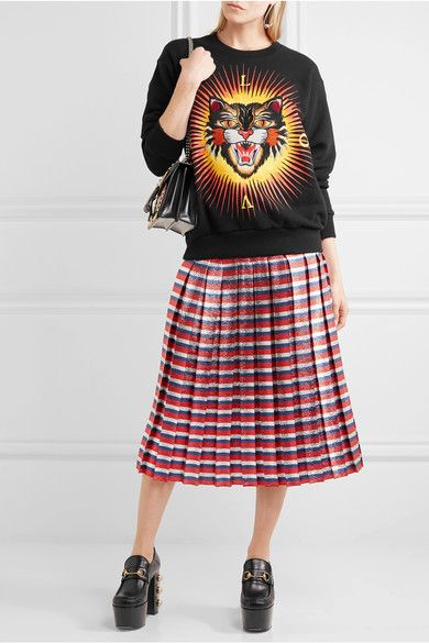 Gucci - Appliquéd Printed Cotton-jersey Sweatshirt - Black -