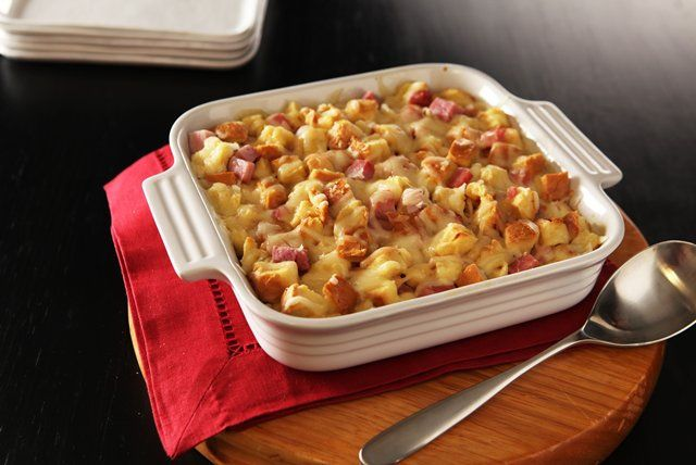 This bread pudding is inspired by the popular Monte Cristo sandwich which features ham, Swiss cheese and eggs.