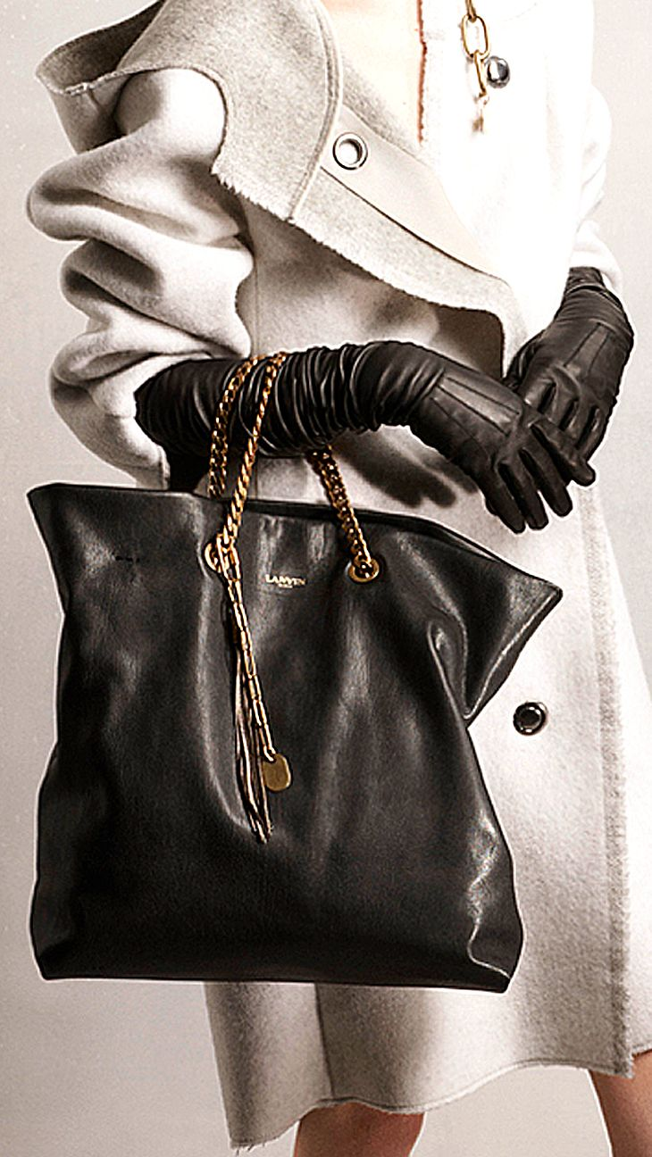 Lanvin Pre-Fall 2014 handbag and gloves http://www.vogue.com/fashion-week/ #Handbag #Purse