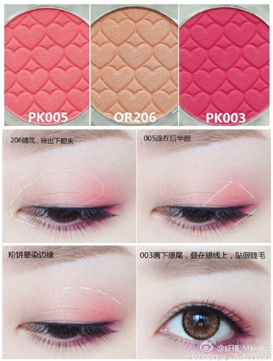 Eye makeup color scheme in pretty pink! ≧◡≦: