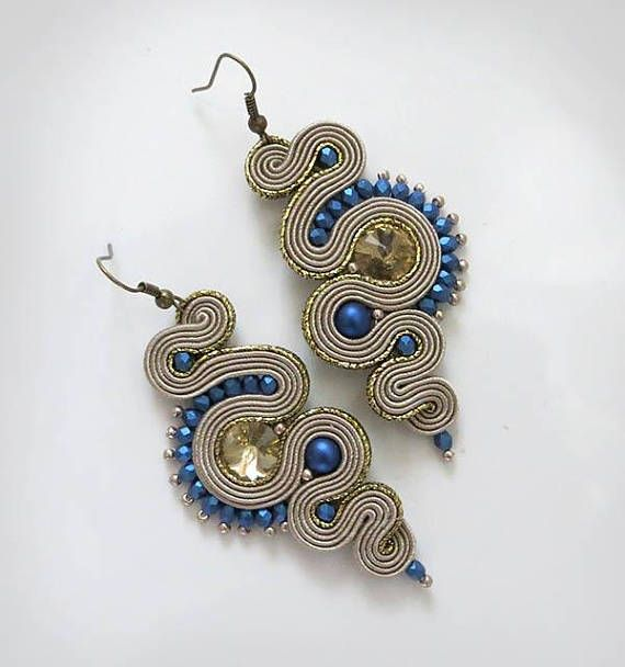 Soutache Earrings long Beige navy blue Dangle Soutache