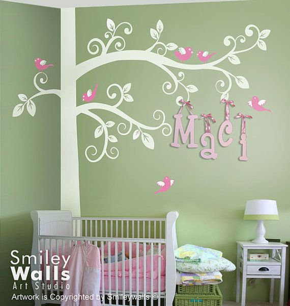 Huge Swirly Tree with Birds Wall Decal Corner Tree Kids Wall Decals Wall Sticker Tree Wall Decal on Etsy, $111.11 CAD