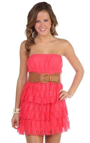 Deb Shops all over floral lace leatherette belted triple tiered dress
