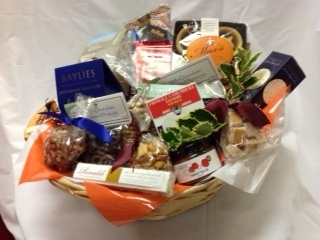 'Bountiful' Christmas Basket. Mince Pies, Nougat, Rumballs, Chocolates, Apricot Squares, Crackers, Camembert Cheese, Beer Nuts and more
