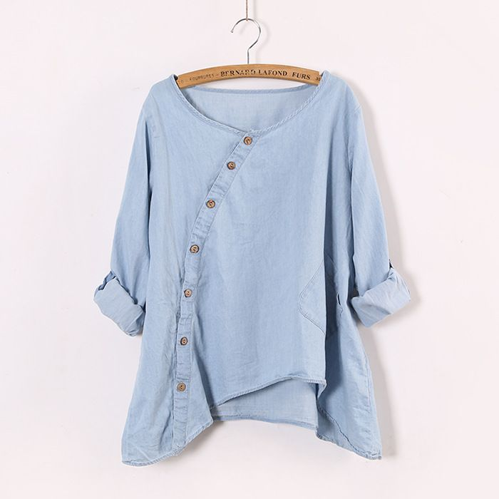 Johnature 2017 New Women Shirt Slant Oblique Button Irregular Roll Up Sleeve Wash Blue Pocket Loose Casual Top Blouse //Price: $27.64 & FREE Shipping //     }