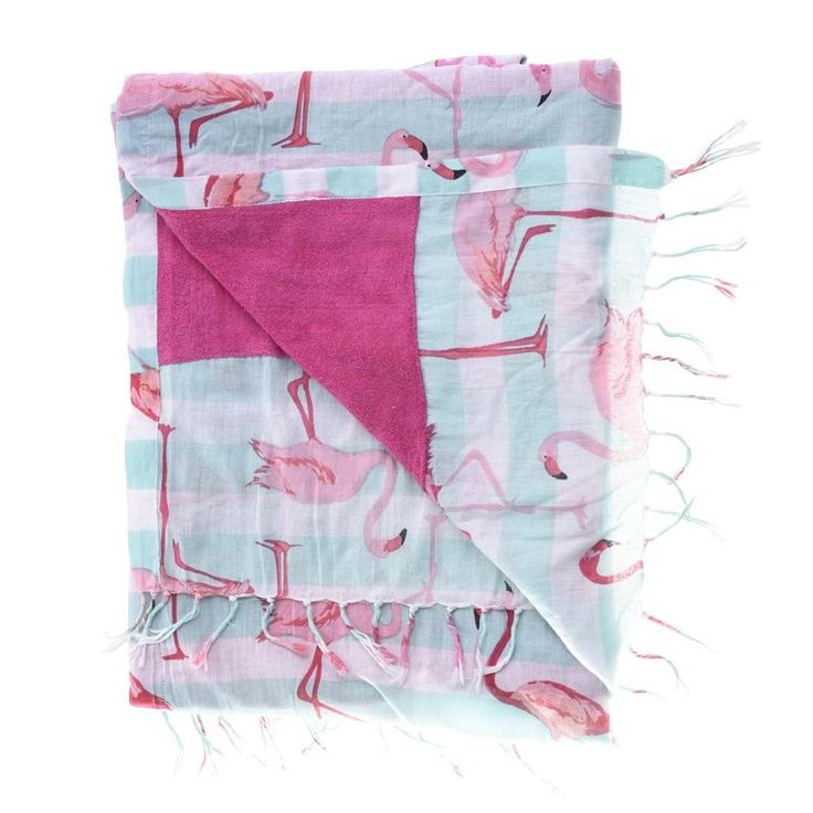DOUBLE SIDE BEACH TOWEL WITH FLAMINGOS - Towels