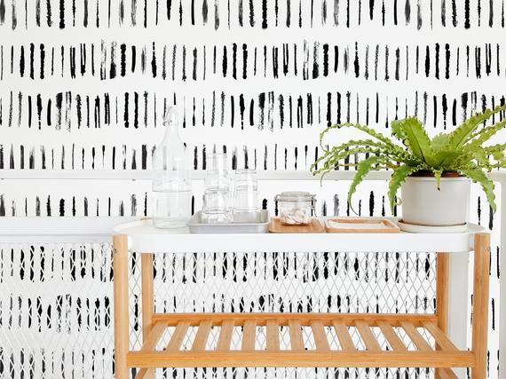 Brush Stroke Removable Wallpaper Design Black And White Etsy In 2021 Brush Stroke Wallpaper Removable Wallpaper Peel And Stick Wallpaper Brush stroke removable wallpaper