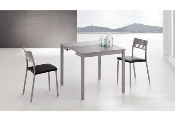 Mesa de cocina estrecha Andria en cristal o porcelancio