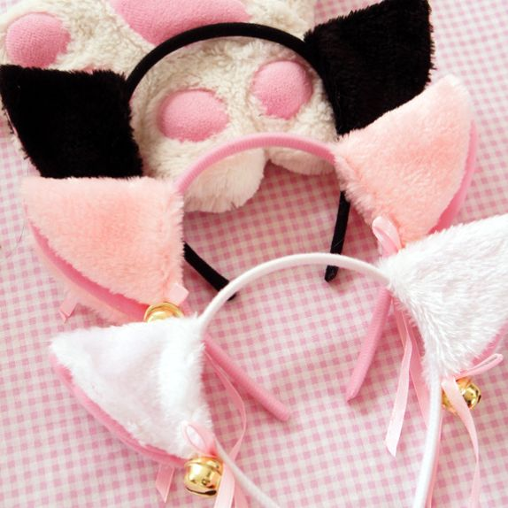 "Kawaii cosplay maid black/white/pink bell hair band SE9537   Coupon code ""cutekawaii"" for 10% off"