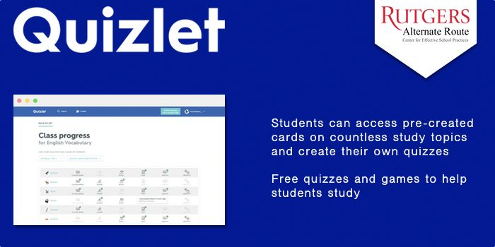 Quizlet - Students can access pre-created cards on countless study topics and create their own quizzes. Free quizzes and games to help students study.