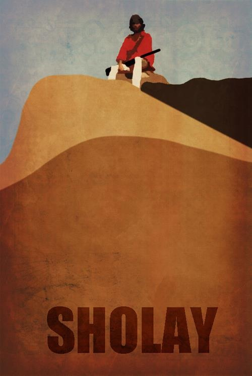 Bollywood may boast some of the most colourful artwork in the world, but check out this AMAZING minimal poster for the #IFFMelb film Sholay
