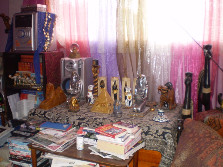 My Egyptian collections the runner on table is actually from Egypt
