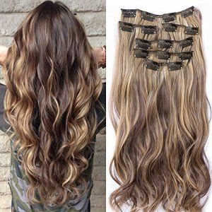 22 «Full Clip tete dans les extensions de cheveux boucles Wavy Ombre Dip Dye 7 Pcs Mix Brun Noir