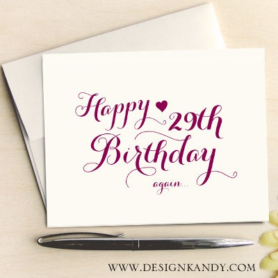 Birthday Cards Set Of 8 For Her Happy 29th Calligraphy Font By Designkandy 1495