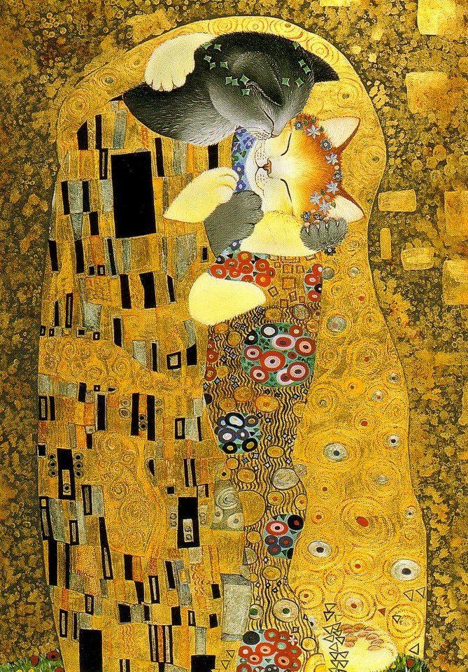 """Garanci Art e Design Pintura: The Cat Kiss Artista: Anna Wischin """"The Kiss by Gustav Klimt"""""""