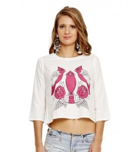 Jalebe trendy white crop-top with bird print for women INDTJBL023
