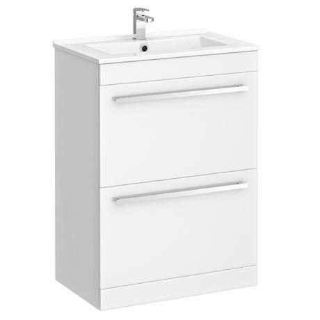 Nova 600 x 400mm High Gloss White Floor Standing Basin Unit - VTFW600