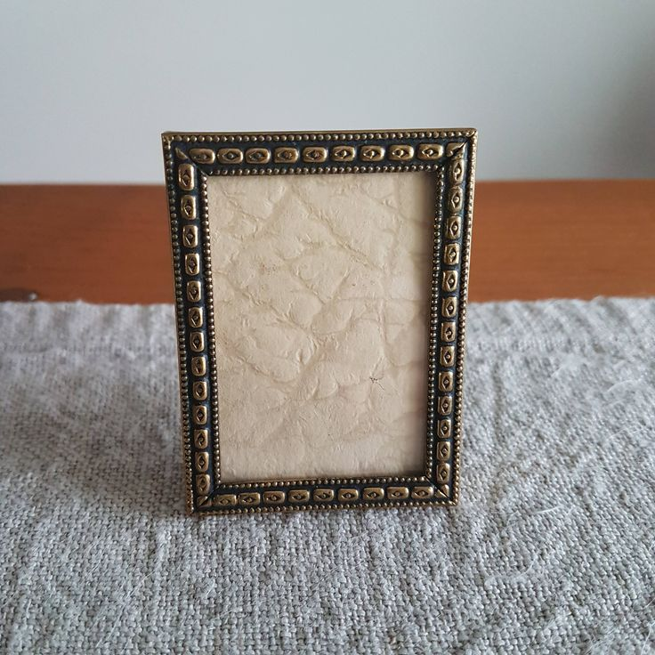"""1.8"""" x 2.3"""" wallet sized miniature gold tone metal picture frame // 4.5 x 6 cm family photo, Jyden / Scandinavian ormolu look, gold & black by BlueChickenVintage on Etsy"""