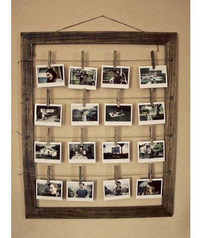 Clothespin Photo Frame- I like this a lot but this version is far too drab for my tastes.  I would spruce it up with a polished frame and/or color clothespins.