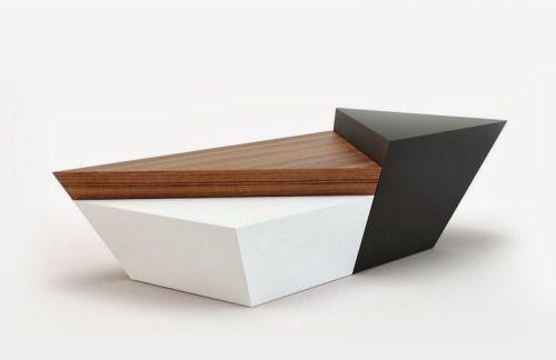 Furniture stool split triangle layered wood black and white | facebook.com/derin.sariyer/timeline