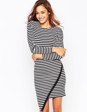 chrome hearts warehouse ASOS Bodycon Dress in Stripe with Asymmetric Hem and Long Sleeve