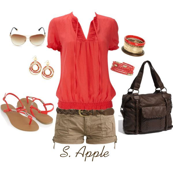 """Red-Orange and Brown"" by sapple324 on Polyvore"
