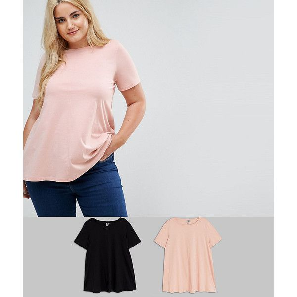 ASOS CURVE Swing T-Shirt 2 Pack ($23) ❤ liked on Polyvore featuring tops, t-shirts, multi, plus size, womens plus size tops, plus size party tops, women's plus size short sleeve tops, women's plus t shirts and crew neck t shirt