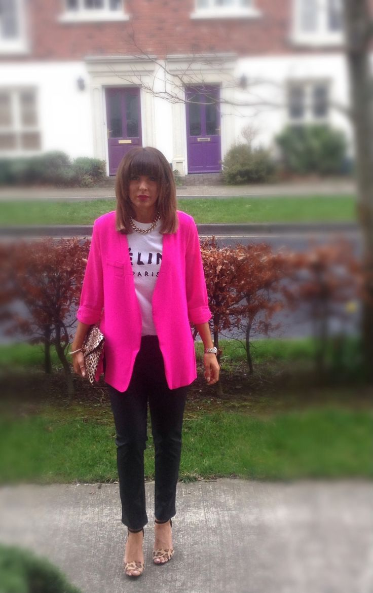 Celine tee,hot pink blazer and leather trousers