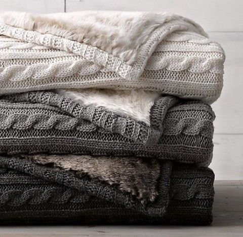 Cable Knit & Luxe Faux Fur Blanket Need to find this!