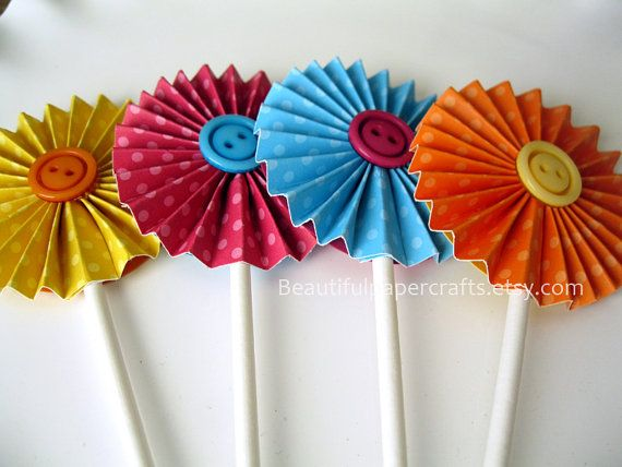 Lalaloopsy Birthday Inspired Cupcake Toppers- Lalaloopsy Birthday Party Decorations - Paper Fans/Rosettes Party Decorations ..set of 12