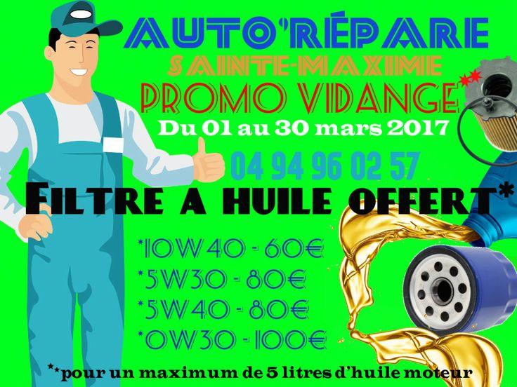 #promos #vidange #filtreàhuile #offert* chez votre #Garage @AutoRepar à @Sainte_Maxime #DigitalMarketing #digital #Marketing #communication