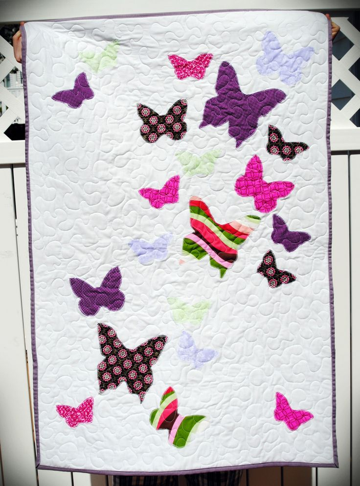 Butterfly Baby Quilt; good scrap quilt idea