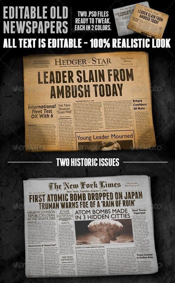 Two Vintage Folded Newspaper Mockups Print Mockup Mockup Vintage Newspaper