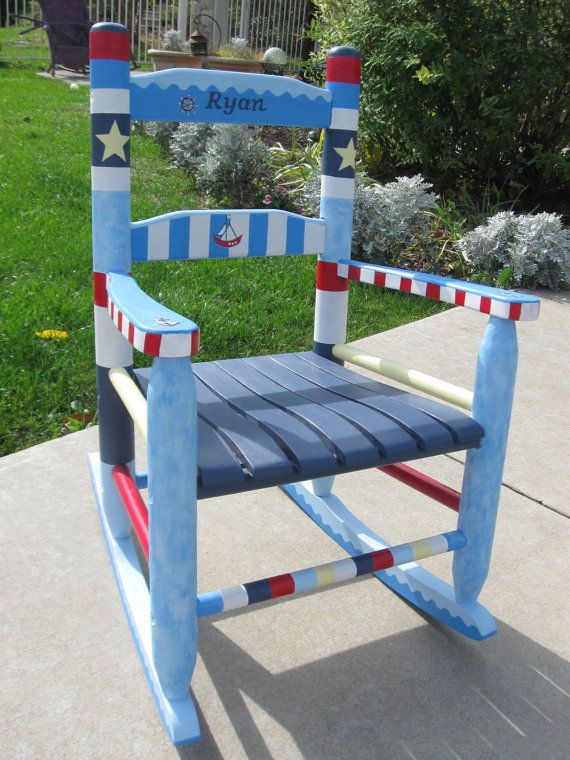 Childs'  Custom Hand Painted Rocking Chair by MunchkinPlanet, $250.00