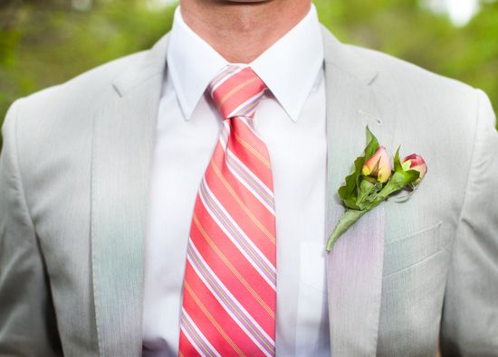 grey suit coral tie wedding - I definitely want Grady to pick his tie--I know he won't want anything too pink.