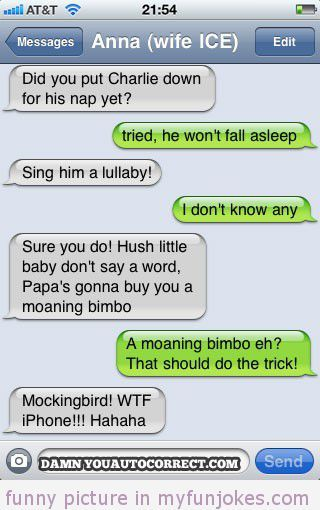 Autocorrect fail He wont fall asleep — funny clean jokes ...