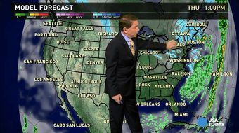 The national weather forecast for Thursday, February 19 calls for snow showers from the Great Lakes to New England and freeze warnings in Alabama, Georgia and North Florida. The Seattle area will see a few showers.
